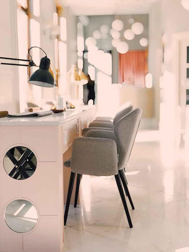 black lamp on white table