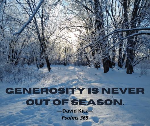 Generosity is never out of season 365